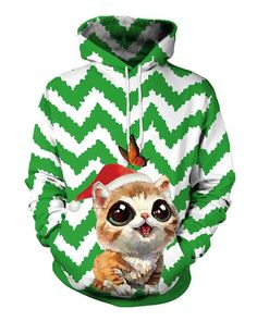 027f0fb2194 Cat In Christmas Hat Multi Striped Printed Green White Pullover Hoodie –  pinkfad Christmas Hat