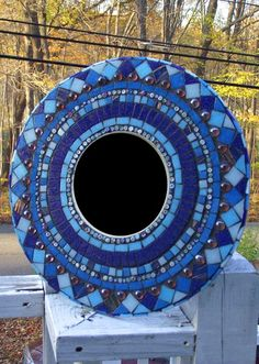 Cool Blue or Fiery Red Mosaic mirror. $120.00, via Etsy.