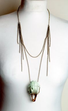 Animal skull necklace - metallic  gold and mint green rabbit skull taxidermy real skull necklace bone jewellery