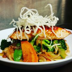 Hoisin Glazed Salmon topped with Fried Rice Noodles #food #foodie #salmon