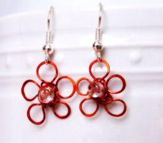 Handpainted Orange Flower Earrings, Orange Wire Flower Jewelry, Wire Wrapped Flower, Hand Painted by ElunaJewelry on Etsy https://www.etsy.com/listing/200607381/handpainted-orange-flower-earrings