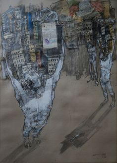 """red-lipstick: """" Dawit Abebe (Ethiopian, b. 1978, Addis Ababa, Ethiopia) - X Privacy 5, 2014 Drawings: Mixed Media on Paper """""""