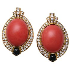 CARTIER Paris Coral & Diamond Earclips
