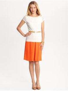 .:* L - cute! Orange pleated skirt, lace tshort and skinny belt. [Women's Apparel: outfits we love | Banana Republic]
