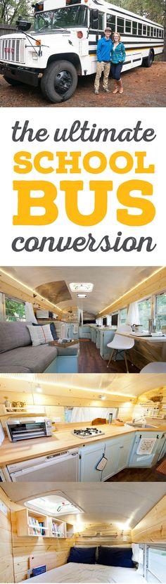 Outside Found School Bus Conversion Project: All the best ideas & resources for your skoolie! (J'aimerais bien voir un plan quand même de ce genre de transformation)