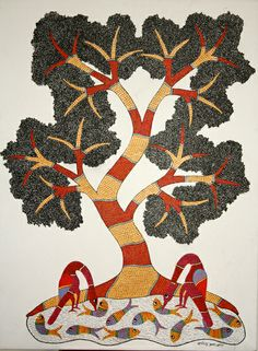 Fish and Tree by Rajendra Singh Shyam, Gond art of India