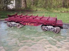 Marx Toys O Scale Train Erie Log Dump Freight Car Fully Working Complete 1950s #MARX