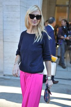 #ZannaRobertsRassi popping pink in NYC.