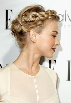 Crown braid. A HOW TO on website: Part hair on side & braid front section of hair. Loosen up braid. Pin into place. Then tie rest of hair into low pony tail behind nape of neck. Pin ponytail into a chignon. Secure w pins. Tuck end of braid into chignon.