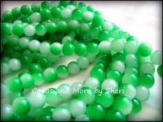 Two Tone Glass BeadsLime Green 100 by CardsAndMoreBySheri on Etsy, $4.00