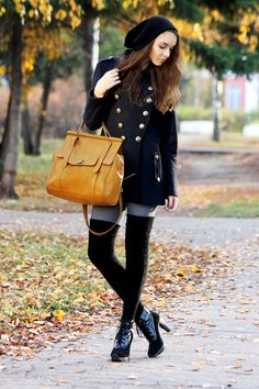 "Gold Bags, Black Dkny Boots, Navy Asos Coats, Heather Gray Gipsy Tights | ""breathe me"" by erokhinaa - Chictopia"