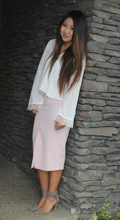 Today's modest church outfit on the blog. White blouse, blush pink front slit pencil skirt, taupe ankle strap pumps. Full details on the blog: www.tiaalesewong.com