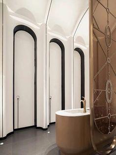 Washroom Design, Toilet Design, Bathroom Design Luxury, Bathroom Spa, Bathroom Toilets, Toilet Door, Public Space Design, Public Bathrooms, Arched Doors