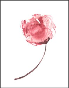 Simple watercolor flower, watercolor peony, watercolor wall art, beginner watercolor, simple floral, learn to paint watercolor, easy watercolor flowers