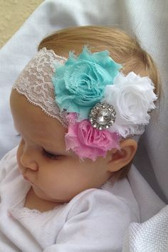Pink, teal & white baby headband. Can fit toddler or child too
