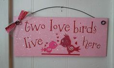 Valentine's Day Sign with glitter  Two love by DiamondDustDesigns, $10.00