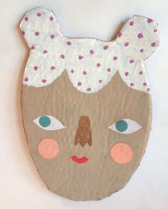 Darling - a sweet faced mixed media paper mache wall plaque
