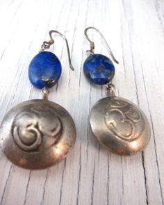 INNER PEACE Om Sodalite Earrings by SusanHeleneDesigns on Etsy, $35.00