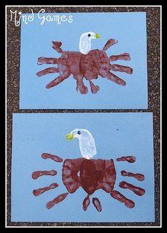 patriotic art for students | Bald Eagle handprint art - | Patriotic Themes for Kids