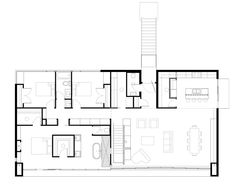 Image 14 of 14 from gallery of Emigration Canyon Residence / Sparano + Mooney Architecture. Second Level Floor Plan Modern House Plans, Modern House Design, House Floor Plans, Rectangle House Plans, Architectural Section, Architecture Plan, Architecture Sketches, House Layouts, Streamline Moderne
