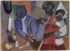 "Vintage Art~Romare Bearden's ""The Family,"" circa 1941. A gouache with ink and graphite on brown paper. It is from the Earle Hyman Collection in memory of Rolf Sirnes, Mr. Hyman's partner of 50 years, a promised gift to the National Gallery of Art."