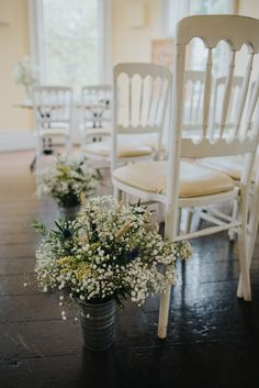Gyspophila in Rustic Pales as Aisle Decor - Remain In Light Photography | Anais Anette 'Savannah' Bridal Gown | Contemporary Wedding at Clissold House & Stoke Newington West Reservoir Centre in London