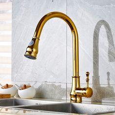 Antique Brass Golden Kitchen Pull Out Mixer Sink Faucet TAG - Antique brass kitchen faucet pull out spray
