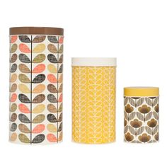 Orla Kiely: Canisters Brown Yellow Set Of 3