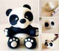 Polymer Clay Animals, Polymer Clay Dolls, Panda Birthday Cake, Bolo Panda, Mini Mouse Cake, Panda Cakes, Safari Cakes, Panda Party, Fondant Animals