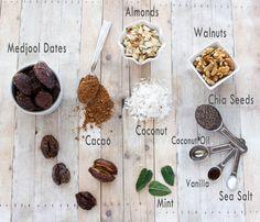 Healthy, delicious, and simple gluten free recipes (many vegan & paleo too! Power Balls, Mint Chocolate, Chia Seeds, Gluten Free Recipes, Free Food, Almond, Vanilla, Paleo, Coconut