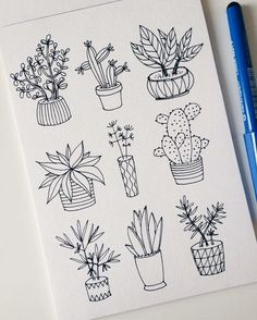 25 Easy Doodle Art Drawing Ideas For Your Bullet Journal Doodle art and bullet journals go hand in hand. Discover 25 easy doodle art drawing ideas for your bullet journal. Learn how to draw the perfect doodle. Easy Doodle Art, Doodle Art Drawing, Plant Drawing, Drawing Ideas, Cactus Drawing, Learn Drawing, Doodle Pages, Drawing Tips, Drawing Sketches