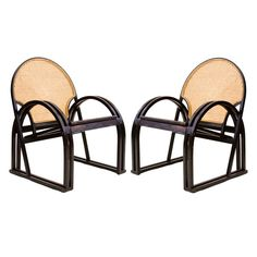 Pair of Bentwood and Cane Chairs by Vermont Tubbs