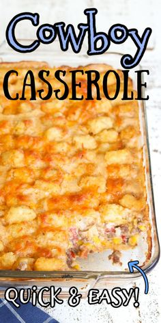 Cowboy Casserole is a quick and easy weeknight dinner that your kids will love. Seasoned ground beef, corn, and a cheesy, creamy sauce are covered with crispy Tater Tots and baked.   #groundbeef #sourcream #easy #cheese #tatertots Easy Potluck Recipes, Beef Recipes For Dinner, Easy Casserole Recipes, Cooking Recipes, Baking With Toddlers, Cowboy Casserole, Ground Beef Recipes Easy, Easy Cheese, Tater Tots