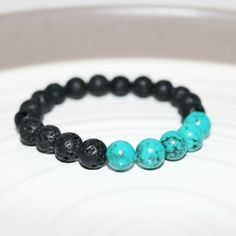 Turquoise and Lava Rock Beaded Bracelet ~ Essential Oil Diffuser
