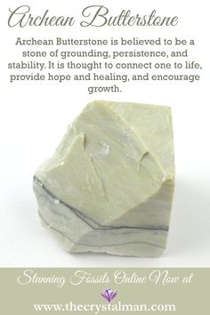 Archean Butterstone ~ Grounding-Persistence-Stability-Connection to Life-Hope-Healing-Growth Shop new Fossils online now at The Crystal Man! Crystal Healing Stones, Stones And Crystals, Chakra Crystals, Gem Stones, Minerals And Gemstones, Rocks And Minerals, Crystal Identification, Crystal Meanings, Rocks And Gems