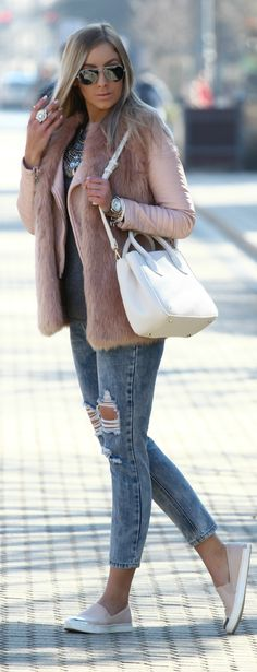 Blush And Blue Winter Outfit by Style and Blog