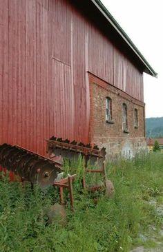 Traditional red norwegian barn