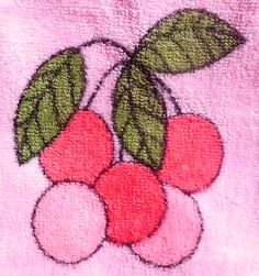 60s 70s Pop Era Pink cotton Terry cloth Half Apron printed with Fruit - pinned by pin4etsy.com