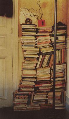 No shelves? No problem! Just stack 'em up. #books