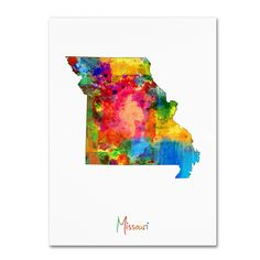 Missouri Map by Michael Tompsett Graphic Art on Wrapped Canvas