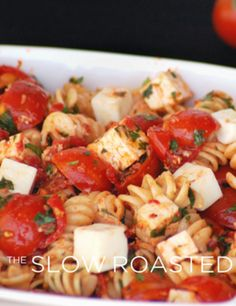 Tomato Feta Pasta Salad. I skipped on the olives, and put sausage in it and it was delicious!!