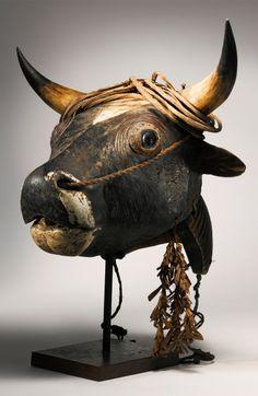 Africa | Bull mask from the Bidjogo people of Bissagos Islands, Guinea-Bissau | Wood, pigment, ox horns, natural fiber