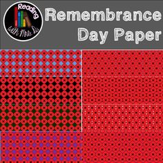 Created Just in time for Remembrance Day and perfect for Anzac and Veterans Day, these poppy themed papers are perfect to create timely products and covers.  Contains EIGHT (8) papers 2 black background 2 purple background 2 blue background 1 white background 1 green background   Coordinates perfectly with my: Remembrance Day Clipart   ***************************** SEE BOTH IN USE: Remembrance Day Series  FULL PRODUCT Craftivitity ONLY Lest We Forget Banner Emergent Reader Colouring FREEBIE…