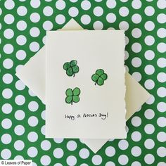Watercolor Greeting Card - St. Patrick's Day Greeting Card with Four Leaf Clovers - Handmade Greeting Card - Original Artwork - Set #4 by LeavesOfPaper on Etsy