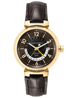 Louis (Lv) Vuitton Tambour Automatic Gmt Yellow Gold In Brown Louis Vuitton Watches, Louis Vuitton Shop, Louis Vuitton Online, Louis Vuitton Collection, Louis Vuitton Wallet, Louis Vuitton Handbags, Luxury Watch Brands, Fashion Articles, Luxury Handbags
