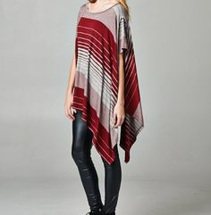 Burgundy striped shirt sleeve poncho tunic. One size. $34.  Tula J Boutique is a trendy boutique in Trussville, AL that carries ladies and tween clothing, purses, shoes, jewelry, accessories, and more! Call (205) 655-5333 or stop by TODAY!