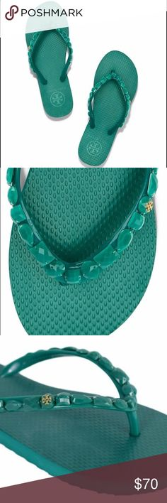 NEW FIRM Tory Burch Jeweled Flip Flop Sandals NWT Tory Burch Jeweled Flip Flops  Details: Tory Burch Color: Emerald Green Size: 7 M Comes with Box Tory Burch Shoes Sandals