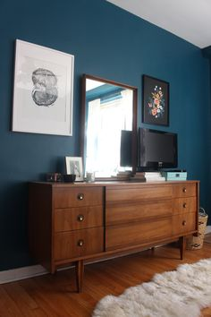 Mid-century dresser, Benjamin Moore Galapagos Turquoise walls, dark teal bedroom