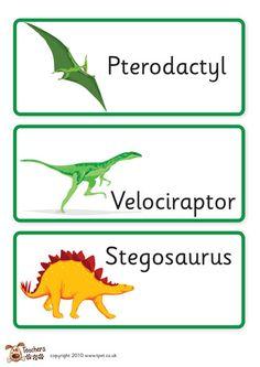 Teacher's Pet Displays » Dinosaur labels » FREE downloadable EYFS, KS1, KS2 classroom display and teaching aid resources » A Sparklebox alternative