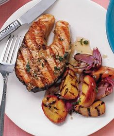 Gingery Salmon With Peaches Recipe
